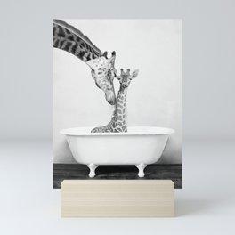 Bathitude - Mother & Baby Giraffe in a Vintage Bathtub (bw) Mini Art Print