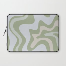 Liquid Swirl Contemporary Abstract Pattern in Light Sage Green Laptop Sleeve