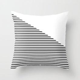 Triangle with White & Black Stripes Throw Pillow