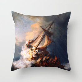 The Storm On The Sea Of Galilee Painting By Rembrandt Throw Pillow