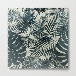 Dark Green Tropical Leaves Metal Print