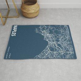 Naples Blueprint Street Map, Naples Colour Map Prints Rug