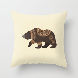 Scandinavian Folk Art Bear Throw Pillow