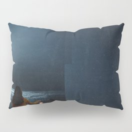 Woman in a boat in the ocean at night-Lantern Lights Pillow Sham