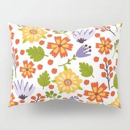 Sunshine yellow lavender orange abstract floral illustration Pillow Sham