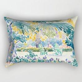 """Henri-Edmond Cross """"Garden of the Painter at Saint Clair"""" Rectangular Pillow"""