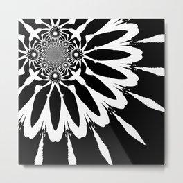The Modern Flower Black & White Metal Print