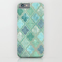 Morocco Pattern, Vintage, Teal, Green, Blue iPhone Case