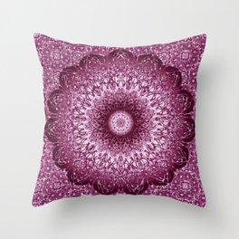 Cabernet Lace Mandala Throw Pillow