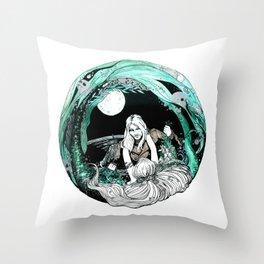 La sirena y el pescador Throw Pillow