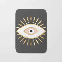 gold foil evil eye in blush Badematte