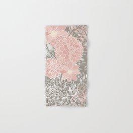 Floral Pattern Dahlias, Blush Pink, Gray, White Hand & Bath Towel