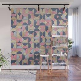 Mid-Century Mosaics Pattern - Fauxsaics - Pastel Tiles - Blush Pink, Navy and Mustard Wall Mural