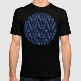 Japanese Blue Wave Seigaiha Indigo Super Moon Pattern T-shirt