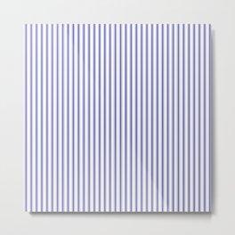 Navy Blue on White Mattress Ticking Stripes Metal Print