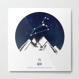 Astrology Leo Zodiac Horoscope Constellation Star Sign Watercolor Poster Wall Art Metal Print