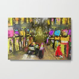 Street Night Lights Metal Print