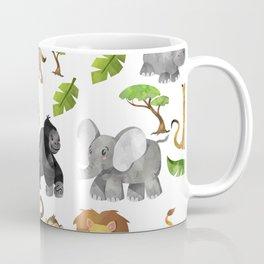 Safari Animals Pattern Watercolor Coffee Mug