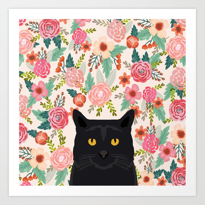Black Cat cat breed floral pattern background pet gifts cats kitten mom gifts Kunstdrucke