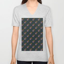 Asteroid with black background repeat pattern Unisex V-Neck