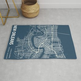 New Orleans Blueprint Street Map, New Orleans Colour Map Prints Rug