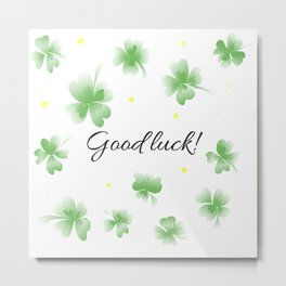 Four leaf clover design,good luck Metal Print