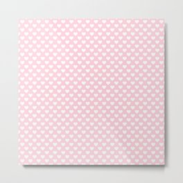Large White Love Hearts on Soft Pastel Pink Metal Print