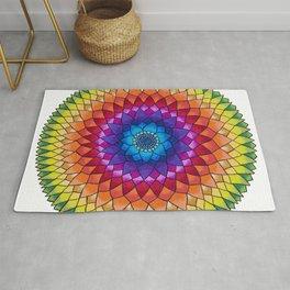 Rainbow Psychedelic Dharma Dahlia Mandala Colored Pencil Illustration by Imaginarium Creative Studio Rug