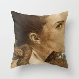 'Original Sin Rebirth' Woman and Snake Portrait Painting in Brown Throw Pillow