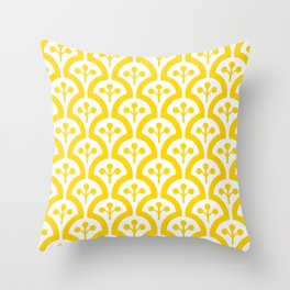 Atomic Mushroom Yellow 3 Throw Pillow