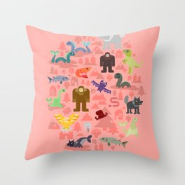 Cryptids of the Pacific Northweird Throw Pillow