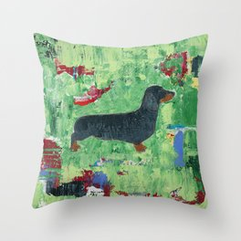 Dachshund Weiner Dog Painting Throw Pillow