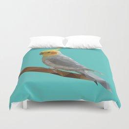 Yellow Cockatiel Bird Polygon Art Duvet Cover