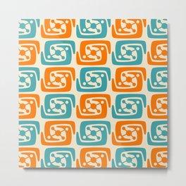 Mid Century Modern Galaxy Pattern 131 Orange and Turquoise Metal Print