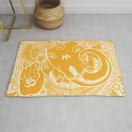 Ganesha Lineart Yellow White Rug