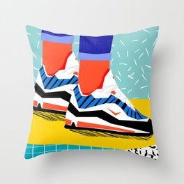Super Fire - retro sneakers, throwback, memphis, fashion, shoes, sneakers, Throw Pillow