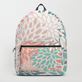 Modern Floral Prints, Teal, Peach, Coral, Abstract Art, Colour Prints Backpack
