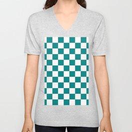 Checkered - White and Dark Cyan Unisex V-Neck