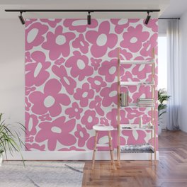 60s 70s Hippy Flowers Pink Wall Mural