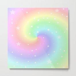 Rainbow Swirls and Stars Metal Print