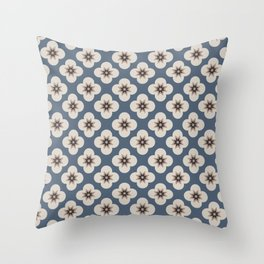 Starburst Floral, Slate Blue background Throw Pillow
