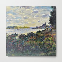 Red Poppies on the banks of the Seine at Argenteuil by Claude Monet Metal Print