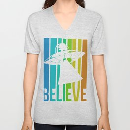 Believe UFO Alien Unisex V-Neck