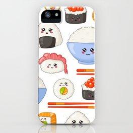 Cute Kawaii Sushi Pattern iPhone Case