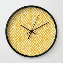 Boho Mudcloth Pattern, Summer Yellow Wall Clock