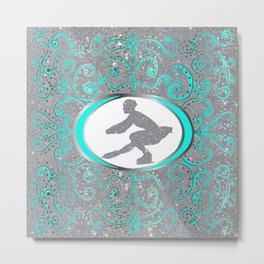 Figure Skater Silver Glitter with Mint Swirls and Dots Design Metal Print
