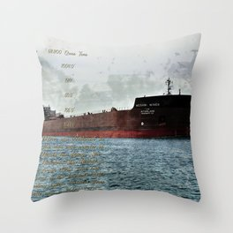Mesabi Miner freighter and Stats Throw Pillow