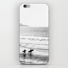Surfers, Black and White, Beach Photography iPhone Skin