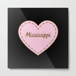 I Love Mississippi Simple Heart Design Metal Print