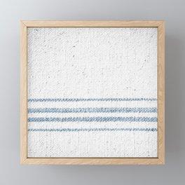 Vintage Farmhouse Grain Sack Soft Blue Stripes  Framed Mini Art Print